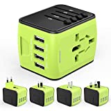 HUANUO Reiseadapter Weltweit für 224 Ländern mit 4 USB Ports + 1 AC Steckdose mit LED-Anzeige