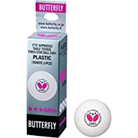Butterfly Unisex's Super (Pack of 3) G40 Plus 3 Star Table Tennis Balls, White, One Size