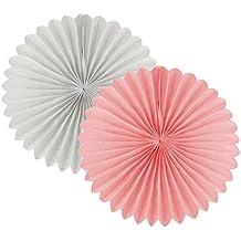 Sky 12 unidades de abanicos de papel blanco y rosa – bodas, cumpleaños, fiestas