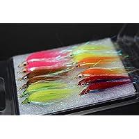 Tigofly - Juego de 12 señuelos para pesca con mosca (6 colores brillantes)