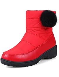 JUWOJIA Las Mujeres Botas De Nieve Impermeable Cálido Invierno Casual Zapatos De Tacón,Red,36