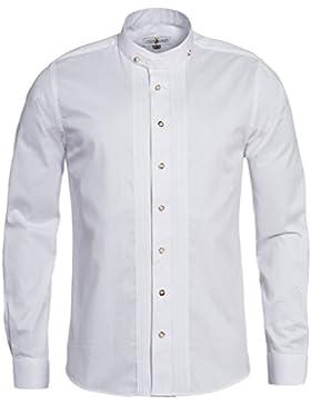 Almsach Trachtenhemd Regular Fit mit Biesen in Weiß