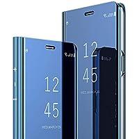 LEMAXELERS Huawei Honor 8X Coque Ultra Mince De Lux Antichoc Mirror Makeup Miroir Portefeuille Bookstyle Flip Étui Housse en Cuir Caseavec Fonction de Support pour Huawei Honor 8X,Mirror PU:Blue