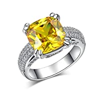 Fashion Big Yellow Stone Ring, Cubic Zirconia Sterling Silver Wedding Engagement Ring for Women