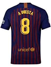 2018-2019 Barcelona Home Nike Football Soccer T-Shirt Camiseta (Andres Iniesta 8
