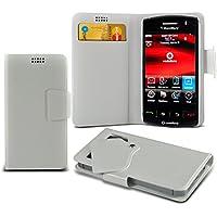 (White) Blackberry Storm 9500 Mega sottile Protezione in ecopelle ventosa Custodia a portafoglio Pelle Copertura Caso Cover con carta di credito/debito Slot Aventus