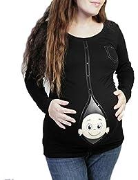 Q.KIM Maternidad T-Shirt Mirando a Bebé Camiseta de Manga Larga Cute Funny Pregnancy Tops