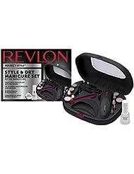 REVLON Style/Dry Set Manucure Pédicure avec Séchoir Intégré/Cadeau Vernis Top Coat