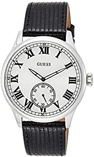 Guess Mens Quartz Watch, Analog Display and Leather Strap W1075G1