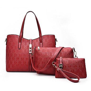 La donna pu formale Evento Casuale/Partito Set borsa nero rubino oro blu,Nero Red