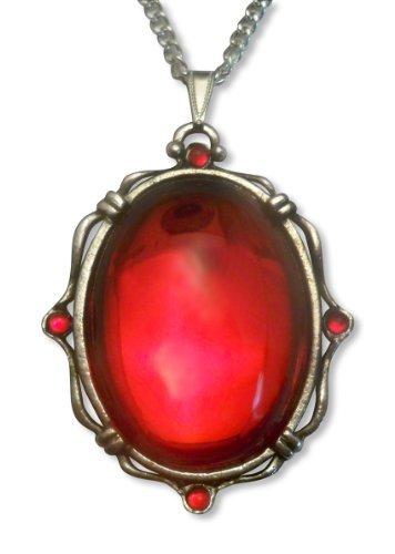 Blut Rot Oval Cabochon Anhänger Halskette in Silber Finish Bilderrahmen aus Zinn