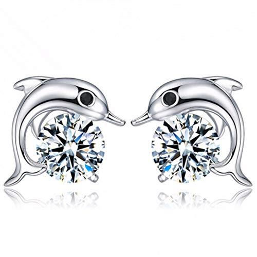 HUGJOU Hohe Qualität Silber Farbe Dolphin Ohrstecker Für Frauen Kristall Strass Cz Bolzenohrrings Modeschmuck Großhandel Geschenk
