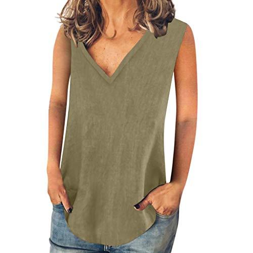 Yvelands Damen Leibchen Mode Tank Tops Sommer Casual solide V-Ausschnitt ärmelloses T-Shirt Weste Bluse(Grün,L) Cashmere Coat Petite