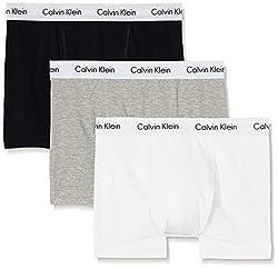 Calvin Klein underwear Herren Boxershorts COTTON STRETCH - 3P TRUNK, Mehrfarbig (BLACK/WHITE/GREY HEATHER 998), Gr. Medium