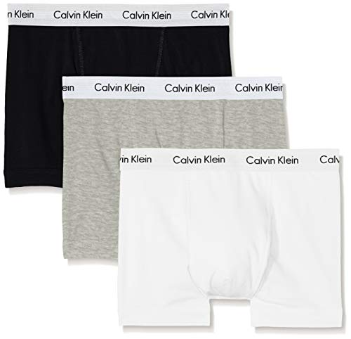 Calvin Klein underwear Herren Boxershorts COTTON STRETCH - TRUNK, 3er Pack, Einfarbig, Gr. X-Large, Mehrfarbig (BLACK/WHITE/GREY HEATHER 998) -