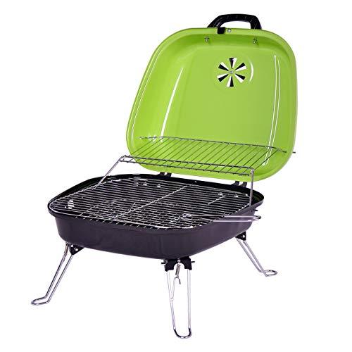 41d 1aNmsDL - Nexos Mini Koffer-Grill Holzkohlegrill für Garten Terrasse Camping Festival Picknick Party BBQ Barbecue ca. 34 x 36 cm Grillfläche grün