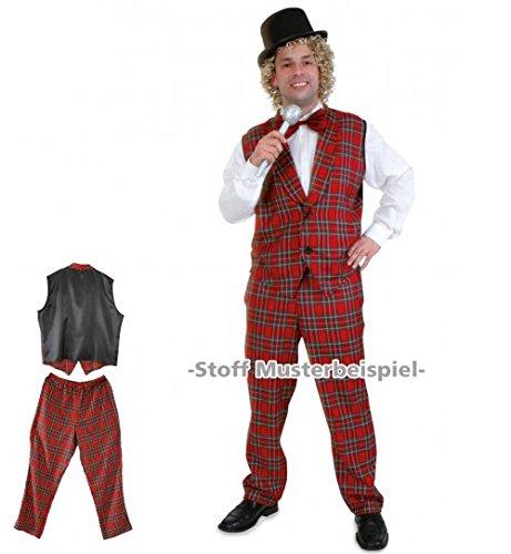 üm Showmaster, Karierter Anzug für Herren, Entertainer, rot grün ()