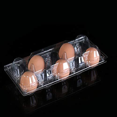 Jiali - Huevera de plástico con dispensador de huevos, apta para cocina, frigorífico, 10 huevos