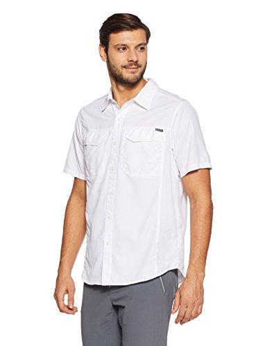 hundeinfo24.de Columbia Kurzarm-Wanderhemd für Herren, Silver Ridge Short Sleeve Shirt, Nylon, weiß, Gr. L, AM7474