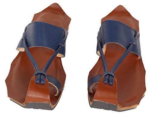 Vogstyle Femme Sandales plates en cuir ornées avec boucle à l'orteil Bleu