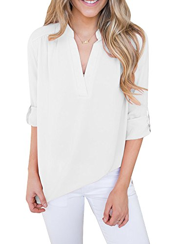 Lueyifs Damen Chiffon Blusen Kurzarm V-Ausschnitt Shirts 9 Farbe Elegant Reißverschluss Oberteil Tops (XXL, Khaki01)