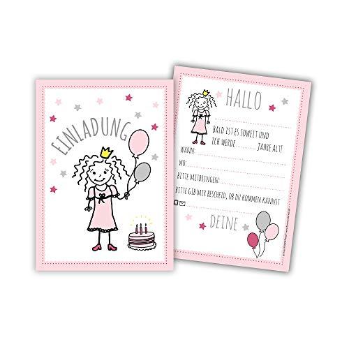 Frau WunderVoll® 12 EINLADUNGSKARTEN Prinzessin, 10,5 (B) x 14,8 (L) / Kindergeburtstag, Prinzessinparty, Mottoparty, Einladung, Geburtstag, Junge, Mädchen, Geburtstagseinladungen