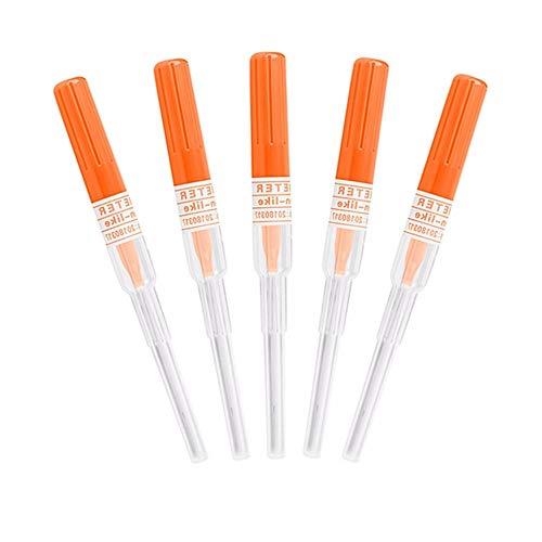 Agujas de perforación de nariz y oreja - SOTICA 5PCS Agujas de perforación de calibre 14 IV Agujas de catéter para perforación Herramienta de perforaciones de tatuaje corporal esterilizada (14G)