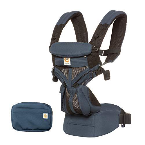 Ergobaby Babytrage für Neugeborene, 4-Positionen Cool Air Mesh Omni 360 Raven, Baby-Tragetasche Kindertrage Rückentrage