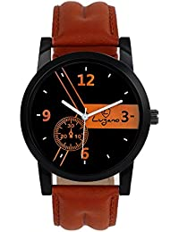Lugano LG 1066 Black Leather Analog Watch For Men/Boys