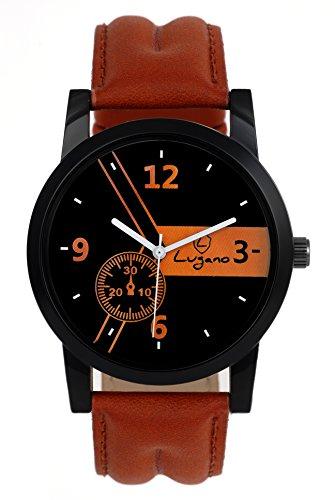 Lugano LG 1066 Black Leather Analog Watch For Men/Boys