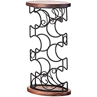 Estante para vinos, decoración Sólido Madera Hierro Forjado Estante de Botellas de Vino de múltiples