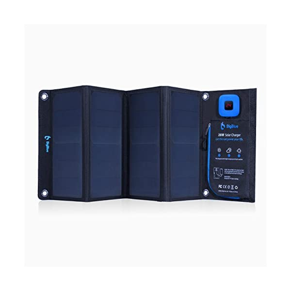 BigBlue 28W Solar Charger Foldable Outdoor Solar Powered Charger With SunPower Solar Panels Dual USB Ports for iPhone iPad Samsung Galaxy LG Cellphones and Devices 2