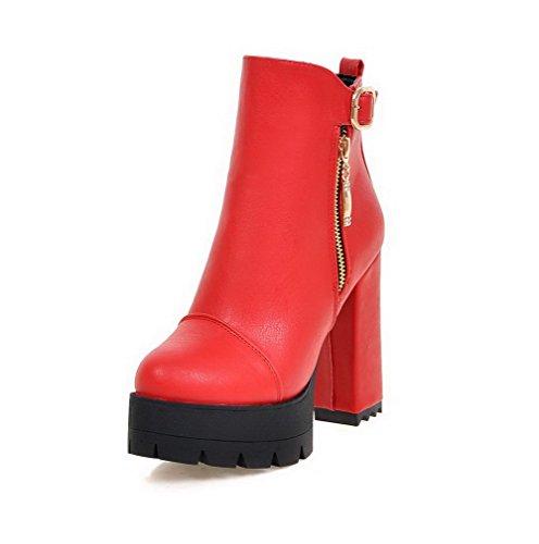 VogueZone009 Donna Cerniera Tacco Alto Puro Bassa Altezza Stivali con Metallo Rosso