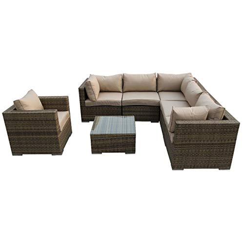 Nwn Sofa de coin carré extérieur simple de combinaison de table basse de sofa réglé le brun/naturel (Couleur : A)