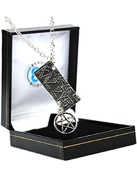 Halskette Nummernschild, Supernatural Dean, Pentagramm, Kansas Nummernschild, Silberfarben, in Geschenkbox
