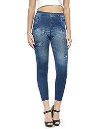 N-Gal Print Denim Look Leggings-NJ2172-Blue