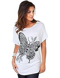 KRISP Damen T-Shirt Longtop Schmetterling Glitzer Top