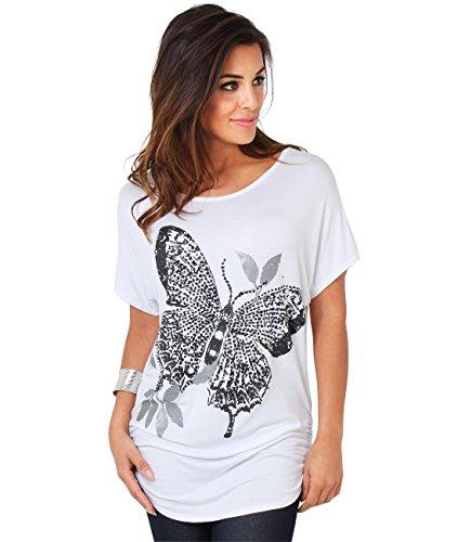 Krisp® da donna, stile Casual, con farfalla grande, collezione top, Batwing White