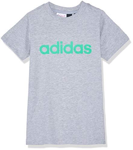 adidas Jungen Linear Kurzarm T-Shirt, Medium Grey Heather/Energy Green, 116 -