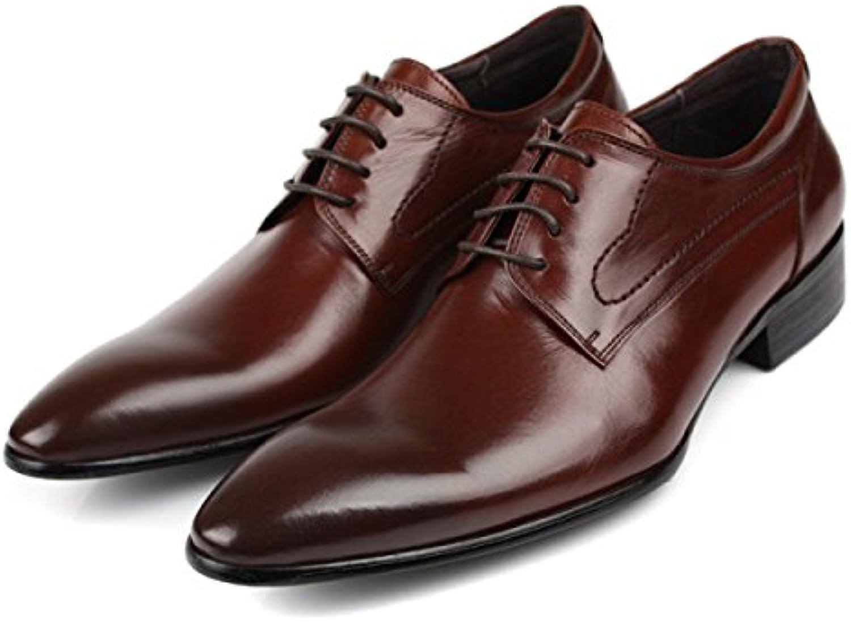 LYZGF Hombre Caballero Negocios Informal Moda Cómodo Banquete Atado Cordones Zapatos De Cuero,Brown-39
