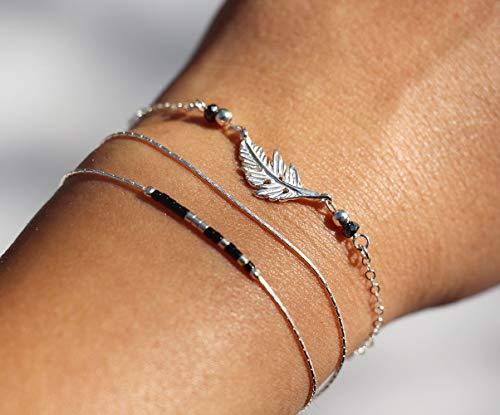 Lot de 2 bracelets feuille argent massif 925, pierre hématite noire, perles miyuki noir et argenté