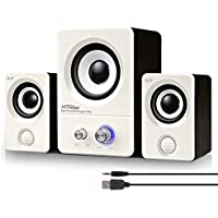 HTRise USB Powered Computer Speakers System (X7 White) for Gaming/Music/Movies, Active Multimedia Stereo Subwoofer for Laptop/Desktop/Lenovo/HP/ThinkPad/IBM/DELL/SONY/MACFEE/SAMSUNG/ACER/Microsoft/PC