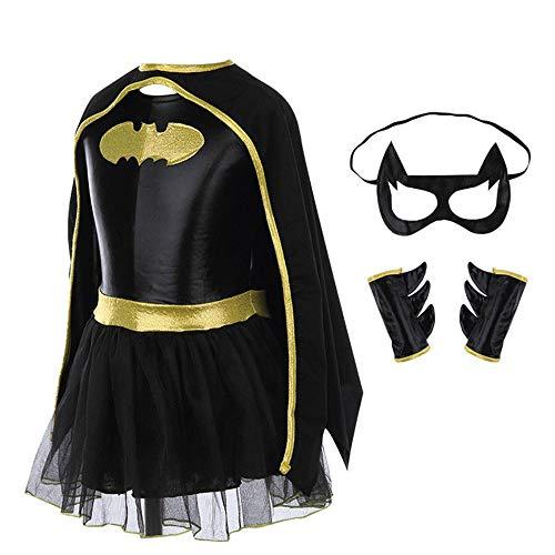 EXQULEG Batman Umhang, Mädchen Cosplay Kostüm Kinder Halloween Kostüm (L(115cm-125cm) (Mädchen Für Batman-kostüme)