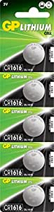 GP CR1616–7U5 Batterie au lithium CR1616 (3 V, Lot de 5) sous blister