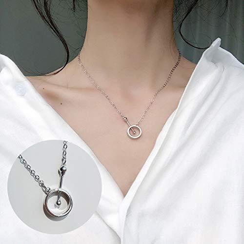 ZKZDSL Damen Halskette,Damen Modische Und Edle Halskette Schmuck Anhänger Silber Halskette Kreuz Ethnischen Freundin Geschenk Silber Ring Crystal