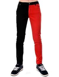 Hommes Tube Jeans Rouge Et Noir Jambe Fendue