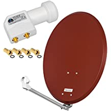 HD Digital SAT Anlage 60cm ALU Spiegel Schüssel Ziegelrot + Twin LNB 2 Teilnehmer zum Empfang von DVB-S/S2 Full HD 3D 4K Ultra HD (UHD) Signale + Stecker Gratis dazu im SET