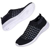 DKRUCAK Womens Comfort Elastic Sock Slip On Walking Shoes Lightweight Non-Slip Breathable (Black-EU 41/US 10