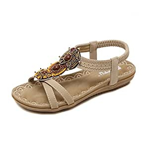 KaiGangHome Sandalen Sandalen Frauen wilde flache Schuhe einfache Wohnung mit Frauen Sandalen (Color : Beige...