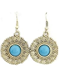 Sanskriti Golden And Turquoise Colour Iron Dangle And Drop Earring For Women